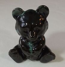 Blue Mountain Pottery Canada Green Drip Glaze Teddy Bear New With Sticker