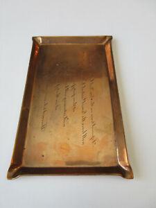 1913 Tiffany & Co Copper Wedding Invitation tray & ticket tray NY Central RR