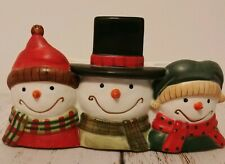 Yankee Candle 3 Tealight Holder Jack Frost Snowman Heads Winter Holiday Christma