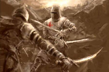 Large Framed Print - Knights Templar Sword Fighting with the Enemy (Picture Art)