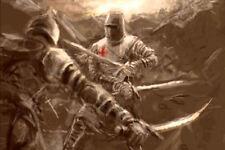 Grande STAMPA INCORNICIATA-KNIGHTS TEMPLAR SPADA lottando con il nemico (PICTURE ART)