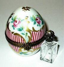 Limoges Box ~ Floral Egg & 'Pearl' Perfume Bottle ~Roses & Stripes~ Peint Main