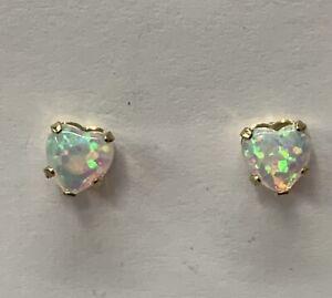 9ct Yellow Gold Heart Shaped Opal Stud Earrings