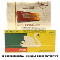 600 RIZLA ORANGE LIQUORICE ROLLING PAPERS & 600 SWAN EXTRA SLIM FILTER TIPS NEW