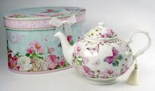 Pretty Butterfly Rose Teatime Ceramic Teapot With Tassel Gorgeous Gift Box