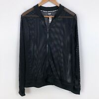 NWT Victoria Sport Athletic Mesh Sheer Black Bomber Jacket Size L