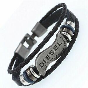 Mens Diesel Leather Bracelet Wristband Braided Surfer Jewellery Man Boy Gift