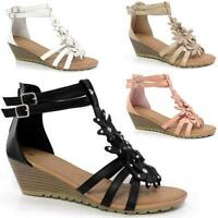 WOMENS LADIES SUMMER SANDALS STRAPPY FLOWERS LOW HEEL FLAT WEDGES SHOES SIZE