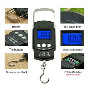 50kg Digital LCD Travel Fish Luggage Bag Hanging Hook Electronic Weighing Scale