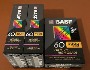 3x BASF EC-60 VHS Premium High Grade Compact Videocassette OVP Fatastic Colours