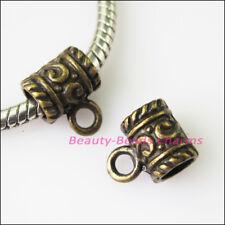 8Pcs Antiqued Bronze Tone Tube Bail Bead Fit Bracelet Charms Connectors 9x11mm