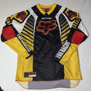 Fox Racing Motocross Moto Jersey D2 Yellow Black Red Long Sleeve Padded Size XL