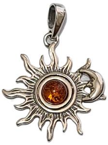 Sun Pendant Crescent Moon Genuine Baltic Amber 925 Sterling Silver  # 54