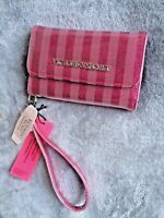NEW! Victoria's Secret Sparkle Pink striped Iphone Snap Wallet Clutch Cardholder