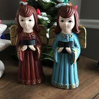 2, Vintage Christmas, Paper Mache, Singing Choir Angels, 1960s by Homco,Japan !!