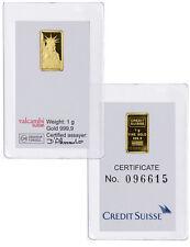 Credit Suisse 1 Gram .9999 Gold Bar - New Sealed With Assay Certificate SKU26513
