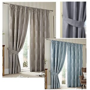Peacock Luxury Feather Design Lined Curtains (Pair of) - Choice of Colour & Size
