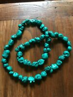 large Chinese  Natural Spider Webbed Gem Nugget Turquoise Necklace 264 Grams