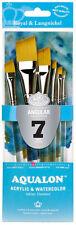 Royal & Langnickel Brush AQUALON Paint Brushes 7 Pc ANGULAR Set BEST QUALITY 301