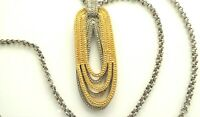 Vintage Gold & Silver Tone Chain Necklace Signed W Tag T & C Or T & A