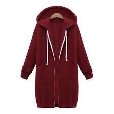 Plus Size Womens Winter Jumper Jacket Cardigan Hooded Long Zipper Outerwear Y3