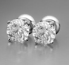 6 Ct 9 Mm Round Moissanite Diamond Solitaire Stud Earrings Solid 14K White Gold