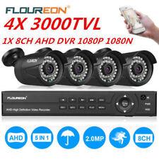 FLOUREON 1X8CH DVR 4X3000TVL 1080P AHD 2MP IP Camera Caméras Sécurité IR-CUT EU