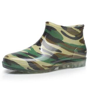 Men Ankle Rain Boots Camouflage Waterproof PVC Home Garden Work Outdoor Shoes
