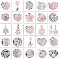 2019 pink European Silver Charms Bead Fit sterling 925 Necklace Bracelet Chain