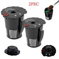 2PCS Refillable K-Carafe Reusable Coffee Filter Replacement Black for Keurig 2.0