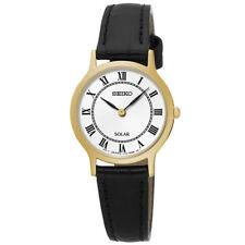 Ladies Seiko Solar Roman Numerals Black Leather Band White Dial Watch SUP304