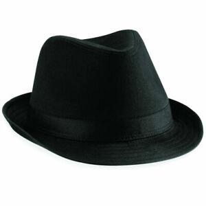 Adults Black Gangster Hat Felt Trilby Fedora Al Capone Fancy Dress Mafia New