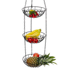 Hanging Fruit Bowl Basket 3 Tier Kitchen Veggie Rack Metal Storage Basket Holder