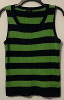 Talbots Green Navy Blue Rugby Striped Cable Knit Sleeveless Sweater Size MP