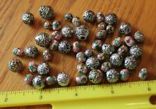 Enamel Beads Metal Colorful Bead lot floral flower pattern Crafting Jewelry