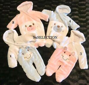 BABY BOY GIRL PINK BLUE FAUX FUR SNOWSUIT PRAM SUIT-NEWBORN-0/3-3/6 MONTHS NEW