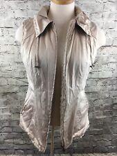 CABI Khaki Beige Reversible SNOWBUNNY VEST Faux Fur Polished Cotton Size S