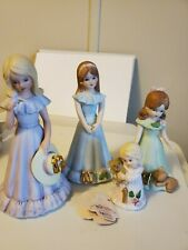 Enesco 1982 Growing Up Figurine Birthday Girls Lot Ages 1, 7, 10, 12