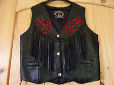 ZONY  BLACK LEATHER VEST FRINGE RED ROSE CONCHOS SZ SMALL