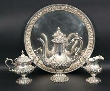 Antique STIEFF Hand Chased Sterling Silver Teaset Teapot Sugar Creamer & Tray NR
