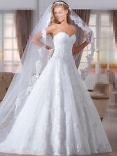 Weiß Elfenbein Spitze Brautkleider Hochzeitskleid Brautjungfer Gr:32/34/36/38/++