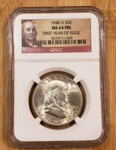 """1948 D Franklin Silver Half Dollar NGC MS64 FBL - Portrait """"First Year of Issue"""""""