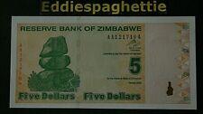 Zimbabwe 5 Dollars 2009 Prefix AA UNC P-93.