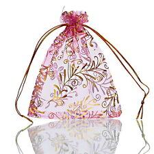 25PCs 9.7cm x11.5cm Pink Gold Straw Organza Gift Bags Wedding/Christmas Favor