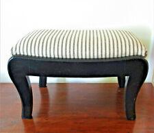 1930's -50's Refurbished Wood Footstool Ticking Stripe Upholstery Black Cream