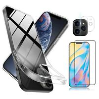 For iPhone 12/Pro/Max/Mini Case Clear Slim Cover,Camera Lens Screen Protector ❅❅