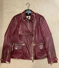 BRAND NEW BURBERRY WOMENS LEATHER JACKET maroon SIZE Uk8!! WITH ORIGINAL TAGS!!