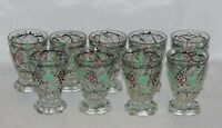 Portieux France Glass Lot of 9 Clear Cordials with Painted Grapes