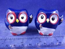 Cracker Barrel Mini Patriotic Red White Blue Star Stripes Owl Salt Pepper Shaker