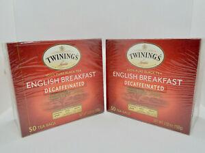 TWO Boxes Twinings English Breakfast Tea, Decaffeinated, 50 Bags ea Exp 14/11/22